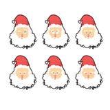 Установленные эмоции Санта Клауса Выражение характера рождества анимизма иллюстрация вектора