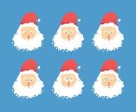 Установленные эмоции Санта Клауса Выражение характера рождества анимизма иллюстрация штока