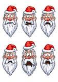 Установленные эмоции Санта Клауса различные Стоковые Фото