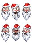 Установленные эмоции Санта Клауса сердитые Стоковая Фотография