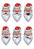 Установленные эмоции Санта Клауса смешные Стоковые Изображения
