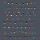 Установленные электрические лампочки рождества бесплатная иллюстрация