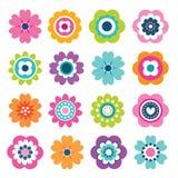 Установленные яркие красочные значки цветка белые Стоковые Фото