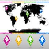 Установленные яркие красочные указатели карты с картой мира иллюстрация штока