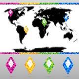 Установленные яркие красочные указатели карты с картой мира бесплатная иллюстрация