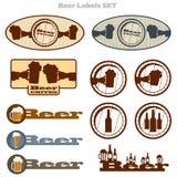 Установленные ярлыки и значки пива Стоковая Фотография