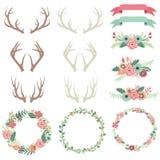 Установленные Antlers цветка свадьбы бесплатная иллюстрация