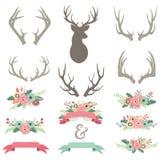 Установленные Antlers цветка свадьбы иллюстрация вектора