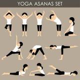 Установленные asanas йоги Стоковое Фото