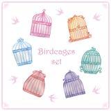 Установленные birdcages акварели иллюстрация штока