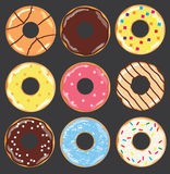Установленные donuts вектора иллюстрация вектора