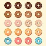 установленные donuts Сладостная и вкусная предпосылка значков еды для любого решения дизайна также вектор иллюстрации притяжки co Стоковая Фотография