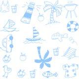 Установленные doodles лета Стоковое Изображение