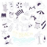 Установленные doodles пляжа вектора тематические Стоковое фото RF