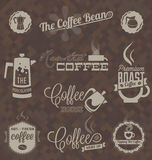Установленный вектор: Ретро ярлыки и символы кофейни Стоковое Изображение RF