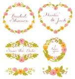Установленный график свадьбы: рамки, венок и цветки Стоковые Фотографии RF