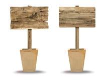 Установленный деревянный знак изолированный на белизне Деревянный старый знак планок Стоковые Изображения