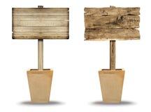 Установленный деревянный знак изолированный на белизне Деревянный старый знак планок Стоковое Изображение RF