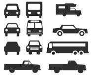 Установленный значок автомобиля и шины - вектор Стоковые Изображения RF