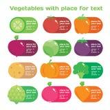 Установленный значок овощей свежего сока красочный круглый и картина для рынка или кафа Стоковое Фото