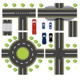 Установленный дизайн взаимообменов перехода Пересечения различного шоссе Циркуляция карусели Транспорт Мост иллюстрация вектора