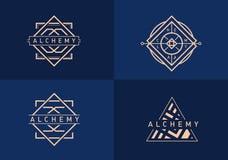 Установленный линейный логотип на алхимии Стоковые Изображения RF
