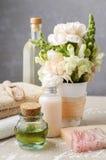 Установленный курорт: бутылка эфирного масла, мягких полотенец, куска мыла Стоковые Фотографии RF
