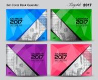 Установленный настольный календарь крышки дизайн шаблона 2017 год, дизайн крышки Стоковая Фотография RF