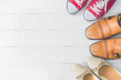 Установленный на стилях белых деревянных ботинка - образах жизни Стоковые Изображения RF