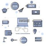 Установленный творческий плоский значок для вебсайта маркетинга интернета Стоковое Изображение