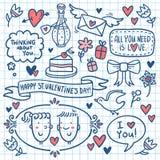 Установленный doodle валентинки нарисованным на бумаге тетради Стоковое фото RF