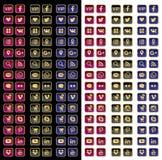 Установленными золотыми вектор сети изолированный значками Стоковая Фотография
