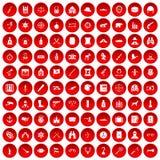 100 установленных значков оружи красными Стоковые Изображения RF