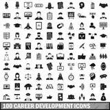 100 установленных значков, простой стиль профессиональной карьеры Стоковые Фотографии RF
