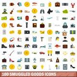 100 установленных значков, плоский стиль контрабандного товара иллюстрация вектора