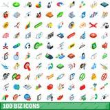 100 установленных значков, равновеликий дел стиль 3d иллюстрация вектора