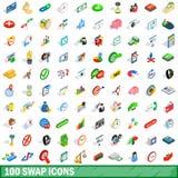100 установленных значков, равновеликий обмена стиль 3d иллюстрация вектора