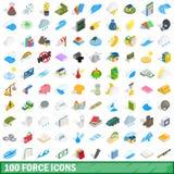 100 установленных значков, равновеликий силы стиль 3d иллюстрация вектора