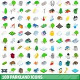100 установленных значков, равновеликий parkland стиль 3d иллюстрация штока