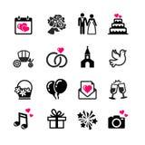 16 установленных значков сеты - свадьба Стоковая Фотография RF