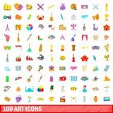 100 установленных значков, стиль искусства шаржа Стоковое Изображение RF