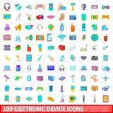 100 установленных значков, стиль электронного устройства шаржа Стоковые Изображения RF