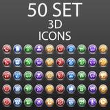 50 установленных значков 3D Стоковые Изображения RF