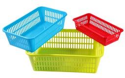 3 установленных цвета и коробки размеров пластичных для хранения домочадца Стоковые Изображения