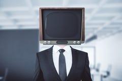 Устарелое ТВ возглавило человека бесплатная иллюстрация