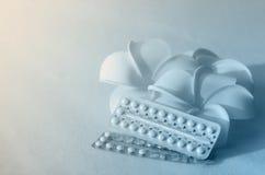 Устный контрацептив с цветками frangipani Стоковое фото RF