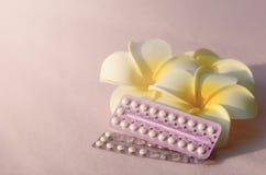 Устный контрацептив с frangipani цветет на розовой ткани фриза Стоковые Фото