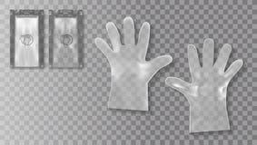 Устранимые перчатки прозрачной пластмассы с упаковкой для медицинского использования или цели косметик бесплатная иллюстрация