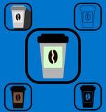 Устранимые установленные значки кофейной чашки Стоковая Фотография