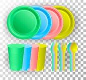 Устранимый пластичный tableware Пестротканые стеклянные чашка, нож, вилка и ложка также вектор иллюстрации притяжки corel иллюстрация штока